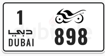 Motorcycle plate number code 1 number 898