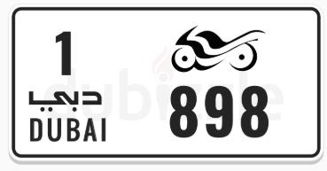 Motorcycle plate number code 1 number 898